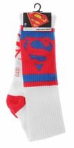 Neuf DC Comics Bleu et Blanc Rouge Superman Hauteur Genou Chaussettes image 2