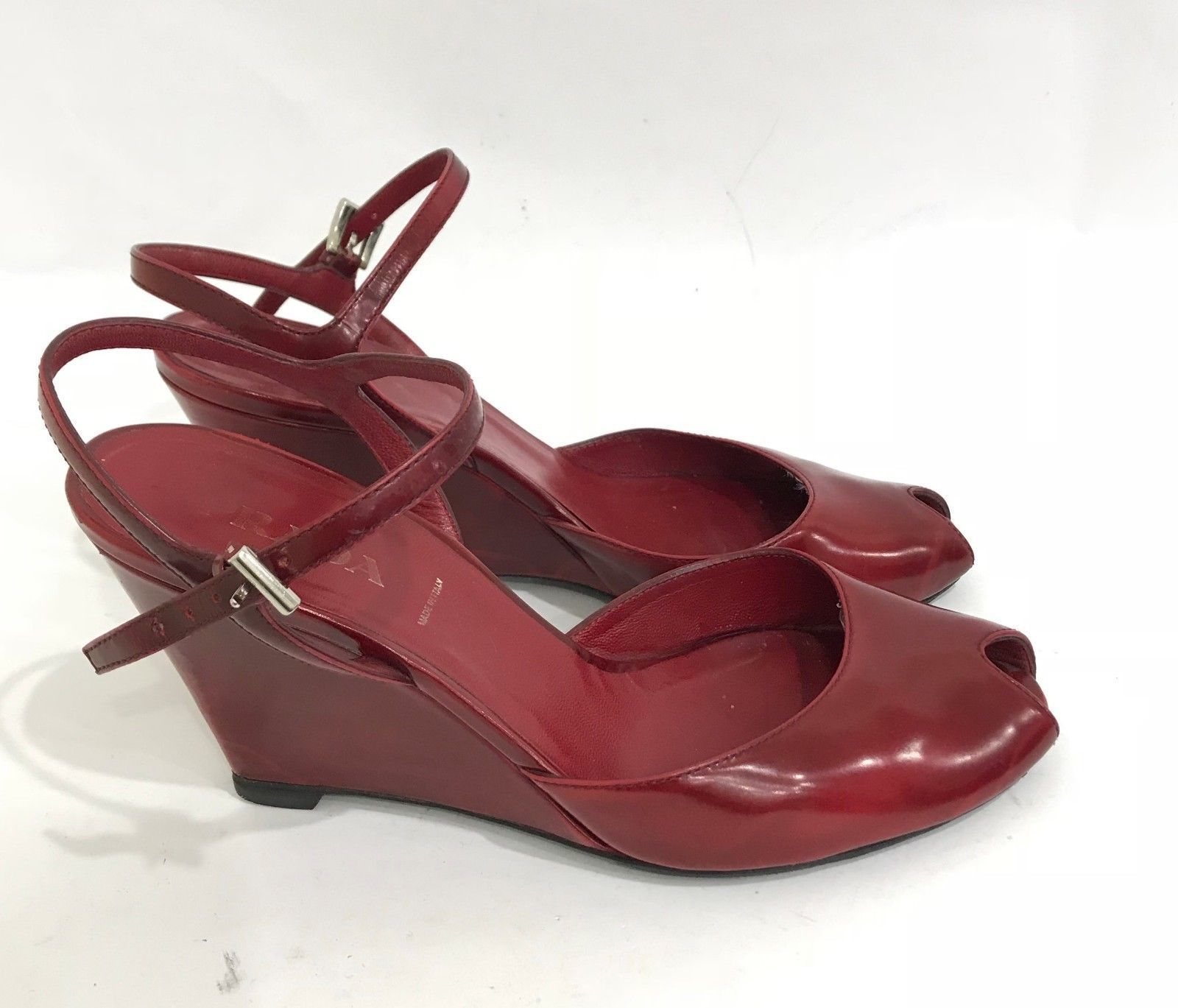 5b2479931 S l1600. S l1600. Previous. PRADA Red Leather High Wedge Heel Shoes Open  Toe Ankle Strap Sandals Size US 6.5