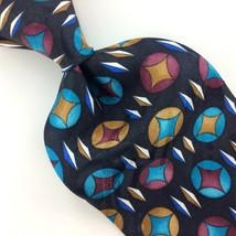 ZYLOS GEORGE MACHADO USA TIE BLACK Turquoise CIRCLES BLUE Silk Necktie  ... - $15.83
