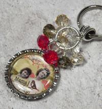 Mama Bird Bottle Cap Keychain Crystal Beaded Handmade Split Key Ring New - $14.54