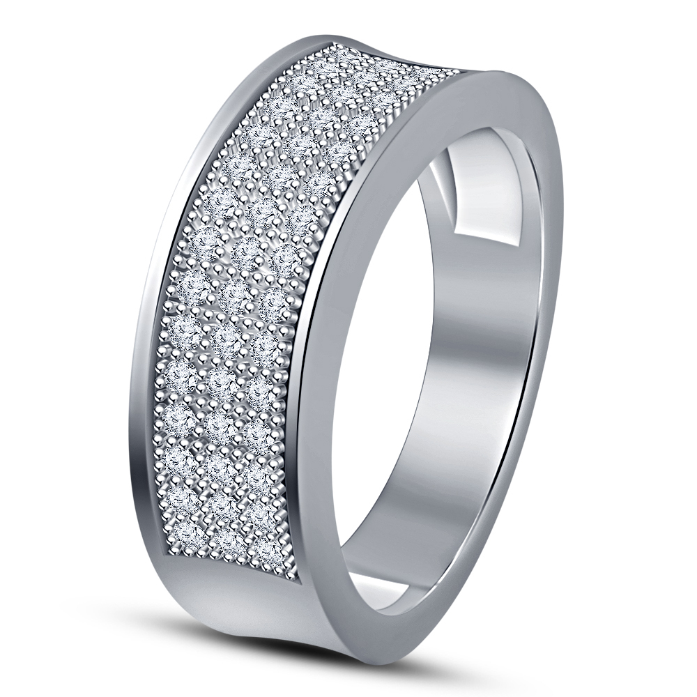 White Gold Plated 925 Sterling Silver Women's Band Engagement Ring Round Cut CZ - $75.33