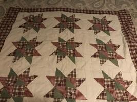 Lap Quilt 46 x 54 plaid star  - $32.68