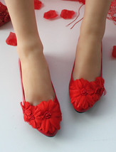 Blush Red Bridal Shoes Flat Flower red wedding Shoes flat UK Size 2,3,4,7,8,9 - $19.99