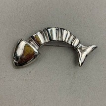 Anne Klein Fish Skeleton Brooch Pin Distressed Silver Tone Signed - $12.58