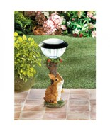 SOLAR BUNNY GARDEN LIGHT PATH LIGHTING RABBIT STATUE YARD LIGHTED ORNAMENT - $36.54