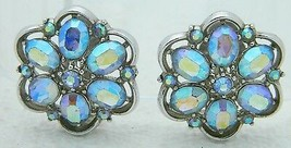 VTG CROWN TRIFARI Silver Tone Blue Aurora Borealis Rhinestone Clip Earrings - $49.50