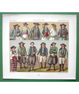 FRANCE Brittany Costume of Peasants - RACINET Color Litho Print - $10.80