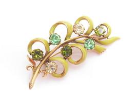 BEAUTIFUL VINTAGE GREEN YELLOW ENAMEL & RHINESTONES FLOWER BROOCH PI... - $27.67