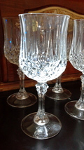 "Cristal D'Arques Longchamp stemmed goblet 7 1/4"" tall - 4 ct. a - $16.00"