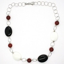 Necklace Silver 925, Agate White, Onyx, Carnelian, Chain Rolo ' Worked image 2