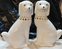 pier one spaniel book ends dogs stoneware NEW - $87.07