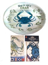 How To Eat a Crab Oval Plates Platters Set of 4 New Dishes Reusable Napk... - $779,30 MXN