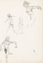 Frank Frazetta Original Sketch Book page (4 Figures) Art 1950 Comic Book... - $2,450.00