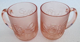 Vintage Circa 1970's Arcoroc (2) Rose Color Glass Mugs Made In France - $18.99