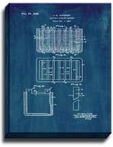 Electric Storage Battery Patent Print Midnight Blue on Canvas - $39.95+