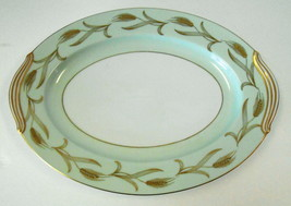 NORITAKE PLATTER 12 X 9 ALAICE PATTERN GREEN GOLD WHEAT DESIGN - $49.50