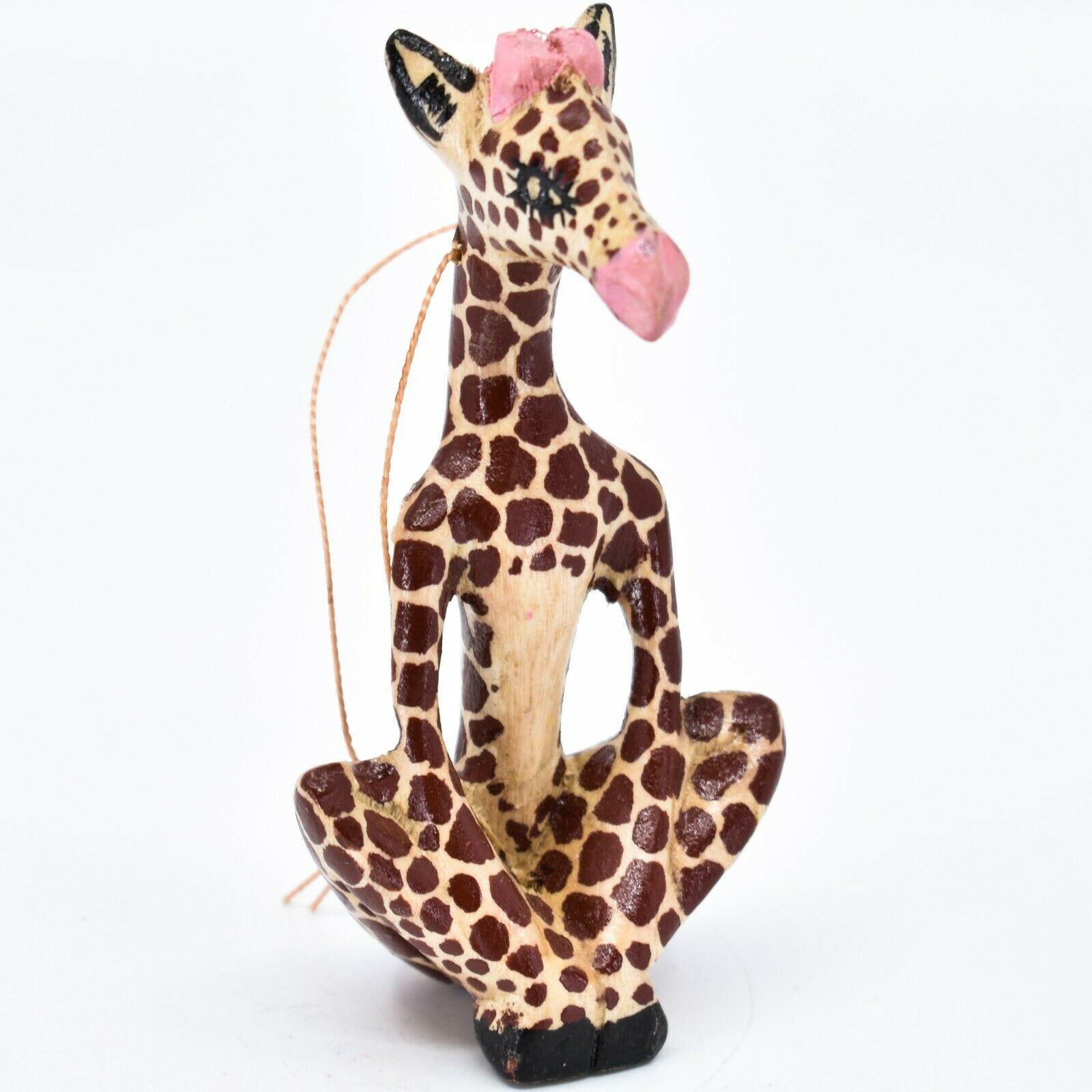 Hand Carved Painted Jacaranda Wood Yoga Lotus Giraffe Christmas Ornament
