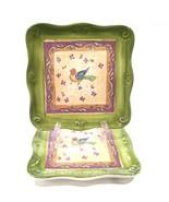 "Sango Tuscan Gardens 8"" Square Salad Dessert Plates Set of 2 Sue Zipkin - $14.99"