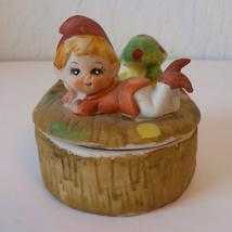 HOMCO Vintage Porcelain Bisque Elf Boy Mushroom Trinket Jewelry Box with Lid - $18.81