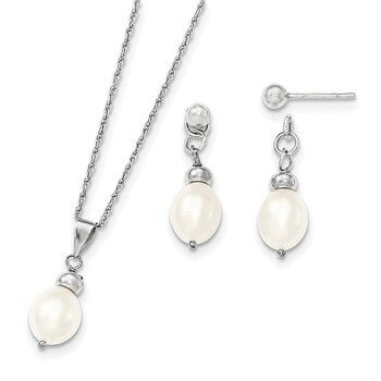Primary image for Lex & Lu Sterling Silver 7-8mm FWC Pearl Pend & Earrings Boxed Set
