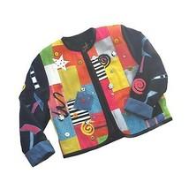 Vintage 80s 90s Colorblock Sweater Cardigan Jacket Patchwork Wearable Art - $64.30