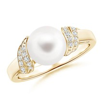 Freshwater Cultured Pearl Diamond Swirl Ring in Silver or Gold - $272.54+