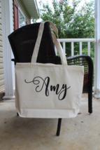 Personalized Bridesmaid Tote Bag, Zippered Wedding Bridal Tote Bag, Mon... - $10.00