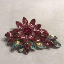 Vintage Sparkling Blue  Pink AB Rhinestone Flower Brooch Pin Silver Tone... - $37.99