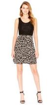 Kensie Black Contrast Lace Top Cheetah Print Skirt Sleeveless Dress L - $27.43