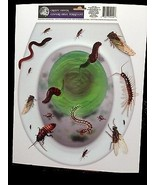 Creepy Horror Prop-BUGS TOILET TOPPER-Cling Decal Bathroom Halloween Decoration - $3.89