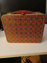 "VINTAGE 1960'S ""OHIO ART"" METAL RED-BLACK & YELLOW PLAID LUNCH BOX (#H77) - $26.60"