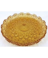 "Rare Amber Gold Daisy and Button Scalloped Plate 7.5"" LG Wright Pressed ... - $34.59"