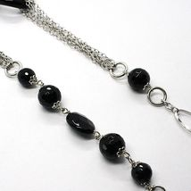 Necklace Silver 925, Onyx Black Wavy, Length 115 cm, Chain Oval image 3