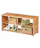 NEW Bamboo Wood Shoe Bench Entryway Organizer Storage Rack Mud Room Shoe... - $135.53