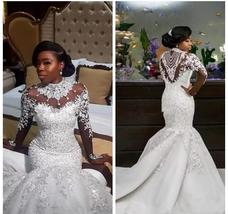 Bling Bling Satin Mermaid Wedding Dress with Crystals Beaded Sheer Long Sleeves image 3