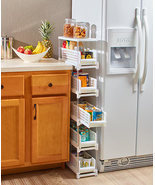 Kitchen Bathroom Laundry Slim Rolling Slide Out Drawer Storage Organizer... - £33.02 GBP+