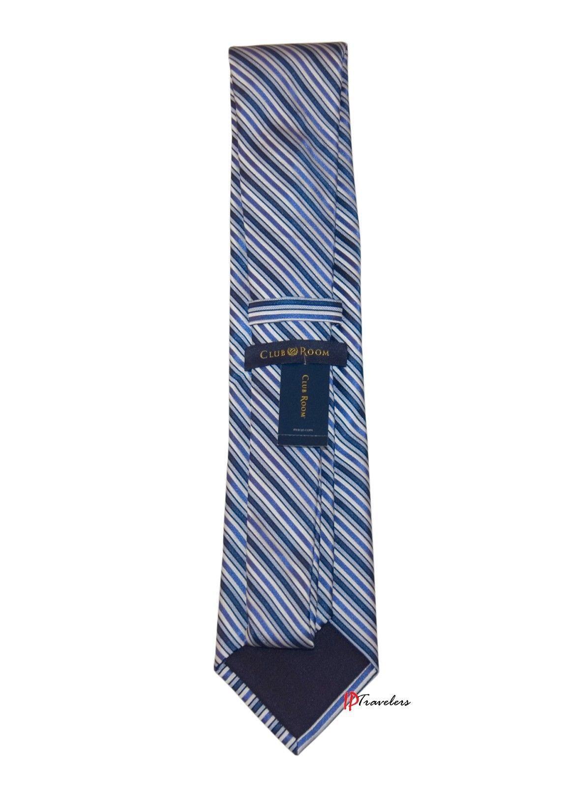 Club Room Men's Neck Tie Medium Blue and White Stripes 100% Silk $49.50