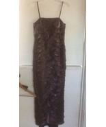Alex Evenings Tiered Beaded Purple Metallic Long Evening Gown Dress Size 4P - $99.95