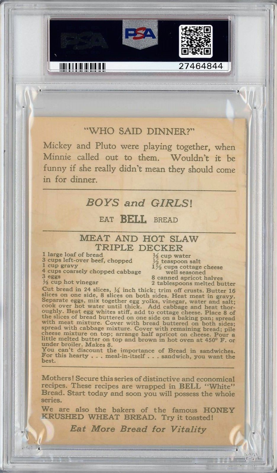 1934-35 D97 Mickey Mouse Recipes Who Said Dinner? Bell Bread PSA 3 VG