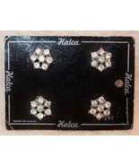 Vintage Halca Rhinestone Buttons Set of 4 Original Card - $13.84