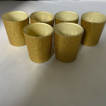 Glitter Votive Holder Gold Mercury Glass Tealight Cup 6 Event Party & Ho... - $23.36