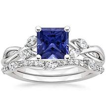 1/5CTW  Sapphire & CZ Diamonds 14K White Gold PL Willow Twisted Ring Set - $79.99