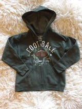 Jacket Boys Small FOOTBALL HOODED forest green zip up Soft Sweats  6/7 coat NEW - $16.99