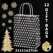 12 Black Paper Party Gift Bags With White Polka Dots 8.3x4.3x10.6in - $12.19