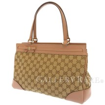 GUCCI Mayfair GG Canvas Leather Pink Beige 257063 Shoulder Bag Italy Aut... - $461.89