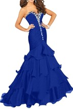Long Mermaid Prom Dresses Royal Blue Sweetheart Formal Evening Gown Cheap - $144.00