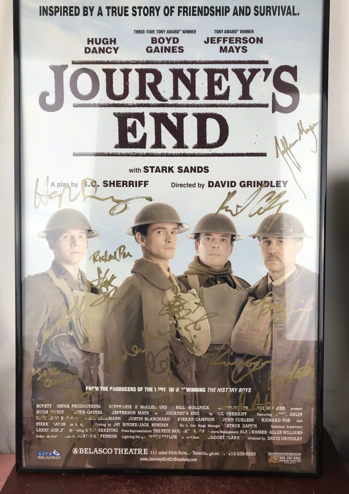 "Primary image for Journey's End / Signed 14 "" X 22 "" Window Card poster Broadway Signed /framed"