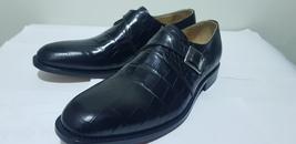 Handmade Men's Black Crocodile Texture Style Monk Strap Leather Shoes image 2