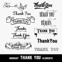 Vintage Thank You Design Elements, Word Arts, 10 PNG Clip Arts, CU4CU - $5.00