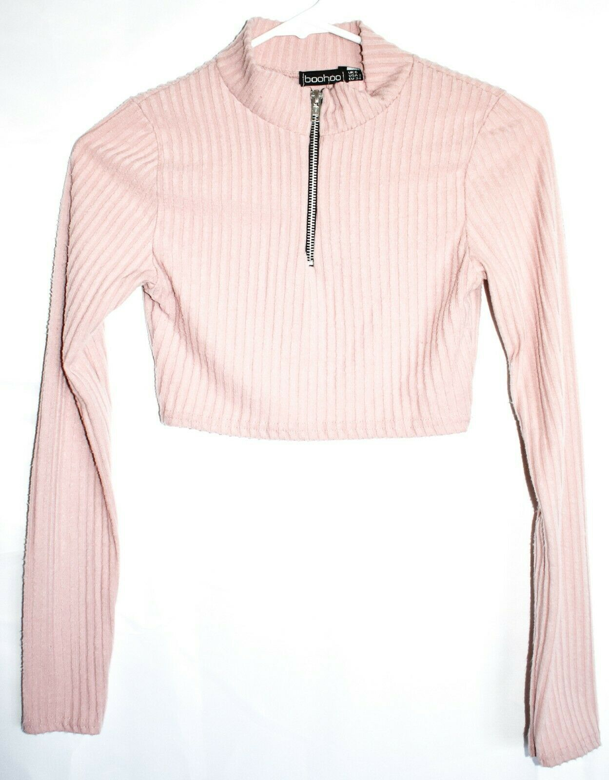 Boohoo Pink Dusty Rose Ribbed Knit Crop Pullover Sweater w Zipper US 2 UK 6